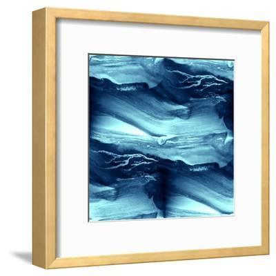 Water Blue Sea Waves Watercolor-maxim ibragimov-Framed Art Print