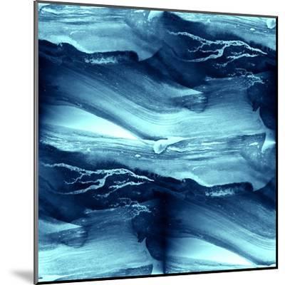 Water Blue Sea Waves Watercolor-maxim ibragimov-Mounted Art Print