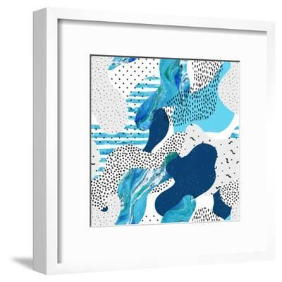 Abstract Curve Shape Background with Doodle-Tanya Syrytsyna-Framed Art Print