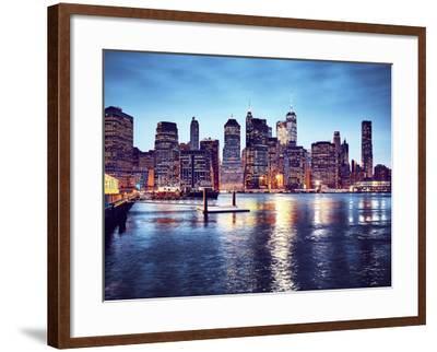 Manhattan Skyline Reflected in East River at Dusk-Maciej Bledowski-Framed Photographic Print