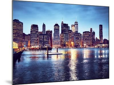 Manhattan Skyline Reflected in East River at Dusk-Maciej Bledowski-Mounted Photographic Print