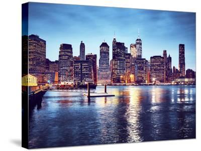 Manhattan Skyline Reflected in East River at Dusk-Maciej Bledowski-Stretched Canvas Print