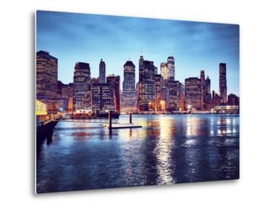 Manhattan Skyline Reflected in East River at Dusk-Maciej Bledowski-Metal Print