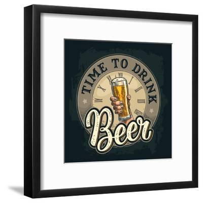 Male Hand Holding A Beer Glass. Born to Drink Lettering. Vintage Color Vector Engraving Illustratio-MoreVector-Framed Art Print