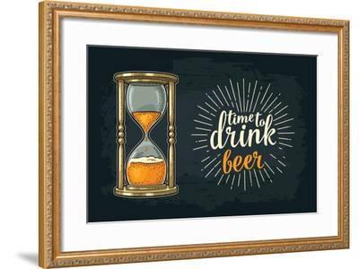 Retro Hourglass. Time to Drink Beer Lettering. Vector Color Vintage Illustration Outline. Isolated-MoreVector-Framed Art Print