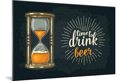 Retro Hourglass. Time to Drink Beer Lettering. Vector Color Vintage Illustration Outline. Isolated-MoreVector-Mounted Art Print