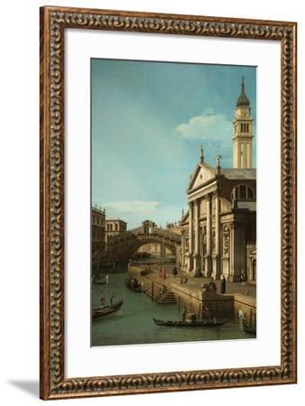 Capriccio: The Rialto Bridge and the Church of S. Giorgio Maggiore, c.1750-Canaletto-Framed Giclee Print