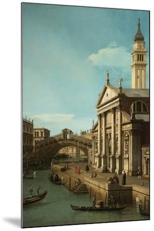 Capriccio: The Rialto Bridge and the Church of S. Giorgio Maggiore, c.1750-Canaletto-Mounted Giclee Print