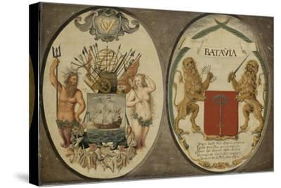 The Arms of the Dutch East India Company and of the Town of Batavia, 1651-Jeronimus Becx-Stretched Canvas Print