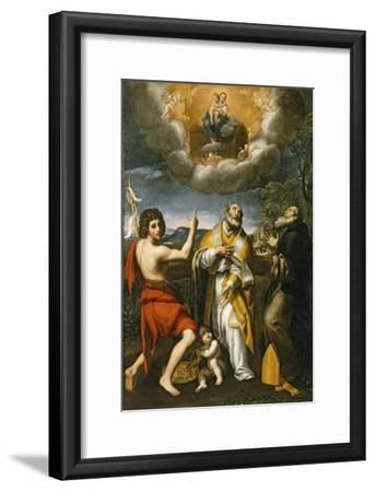 The Madonna of Loreto Appearing to St. John the Baptist, St. Eligius, and St. Anthony Abbot-Domenichino-Framed Giclee Print
