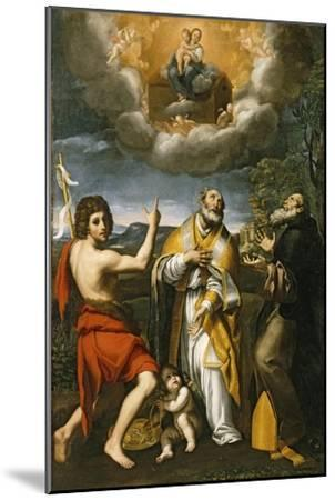 The Madonna of Loreto Appearing to St. John the Baptist, St. Eligius, and St. Anthony Abbot-Domenichino-Mounted Giclee Print
