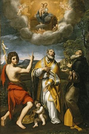The Madonna of Loreto Appearing to St. John the Baptist, St. Eligius, and St. Anthony Abbot-Domenichino-Stretched Canvas Print