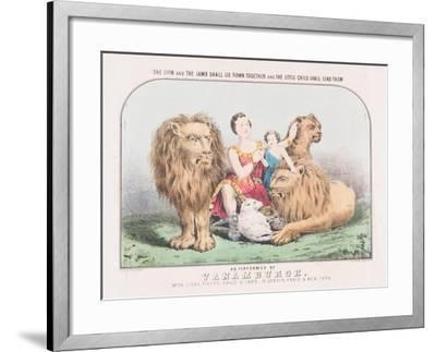 The Lion and the Lamb Shall Lie Down Together and The Little Child Shall Lead Them, c.1840-T. W. Strong-Framed Giclee Print