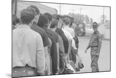 Young men who have been drafted wait in line to be processed into the US Army at Fort Jackson, SC-Warren K^ Leffler-Mounted Photographic Print