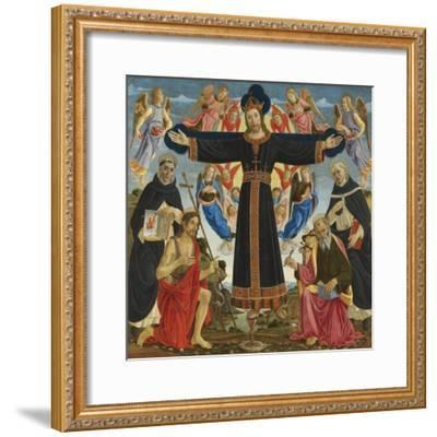 Christ on the Cross with Saints Vincent Ferre, John the Baptist, Mark and Antonius, c.1491-5-Master of the Fiesole Epiphany-Framed Giclee Print
