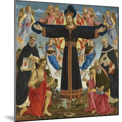 Christ on the Cross with Saints Vincent Ferre, John the Baptist, Mark and Antonius, c.1491-5-Master of the Fiesole Epiphany-Mounted Giclee Print