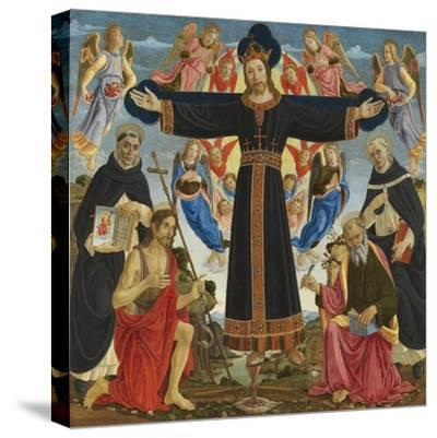 Christ on the Cross with Saints Vincent Ferre, John the Baptist, Mark and Antonius, c.1491-5-Master of the Fiesole Epiphany-Stretched Canvas Print