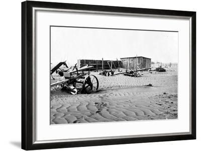 Sand covered farm at Mills, New Mexico, 1935-Dorothea Lange-Framed Photographic Print