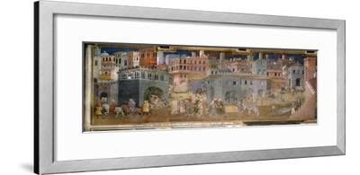 The effects of good government in cities-Ambrogio Lorenzetti-Framed Giclee Print