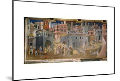 The effects of good government in cities-Ambrogio Lorenzetti-Mounted Giclee Print