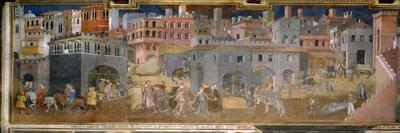 The effects of good government in cities-Ambrogio Lorenzetti-Stretched Canvas Print