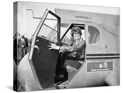 Amelia Earhart in an aeroplane, 1936-Harris & Ewing-Stretched Canvas Print