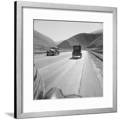 Migrants driving on Highway 99, 1939-Dorothea Lange-Framed Photographic Print