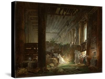 A Hermit Praying in the Ruins of a Roman Temple. c.1760-Hubert Robert-Stretched Canvas Print