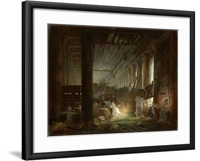 A Hermit Praying in the Ruins of a Roman Temple. c.1760-Hubert Robert-Framed Giclee Print