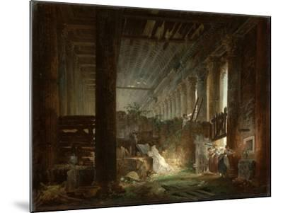 A Hermit Praying in the Ruins of a Roman Temple. c.1760-Hubert Robert-Mounted Giclee Print
