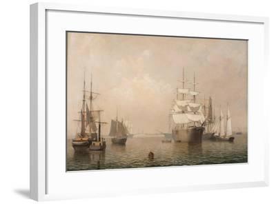 Merchantmen Off Boston Harbor, 1863-Fitz Henry Lane-Framed Giclee Print