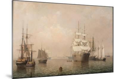 Merchantmen Off Boston Harbor, 1863-Fitz Henry Lane-Mounted Giclee Print