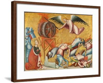 St. Catherine of Alexandria Freed from the Wheel, c.1325-1330-Pseudo Jacopino di Francesco-Framed Giclee Print