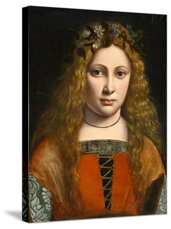 Portrait of a Young Girl Crowned with Flowers, c.1490-Giovanni Antonio Boltraffio-Stretched Canvas Print