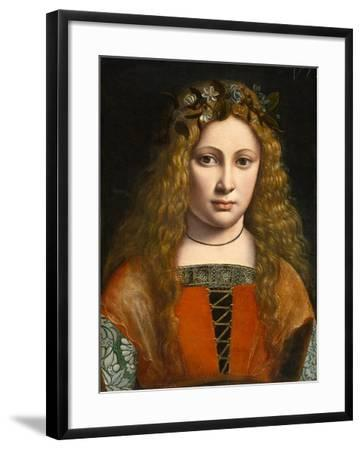 Portrait of a Young Girl Crowned with Flowers, c.1490-Giovanni Antonio Boltraffio-Framed Giclee Print