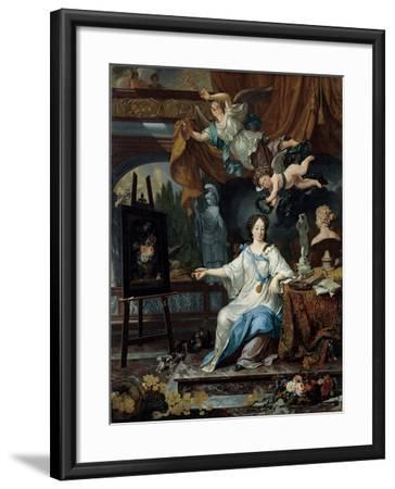 Allegorical Portrait of an Artist in Her Studio, c.1675-1685-Michiel Van Musscher-Framed Giclee Print