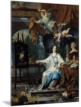 Allegorical Portrait of an Artist in Her Studio, c.1675-1685-Michiel Van Musscher-Mounted Giclee Print