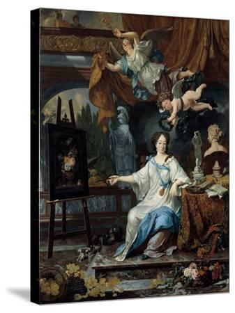 Allegorical Portrait of an Artist in Her Studio, c.1675-1685-Michiel Van Musscher-Stretched Canvas Print