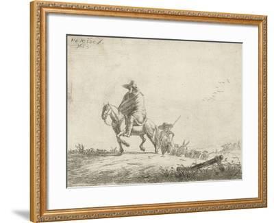 Rider and herdsman with cattle on a dirt road, 1653-Adriaen van de Velde-Framed Giclee Print