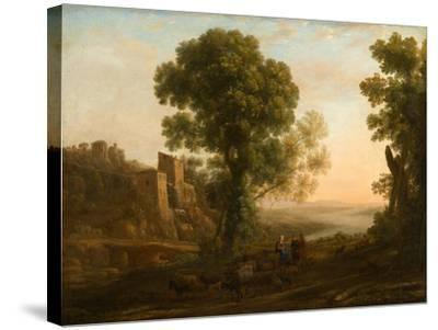 Landscape with Peasants Returning with Their Herds, c.1637-Claude Lorrain-Stretched Canvas Print