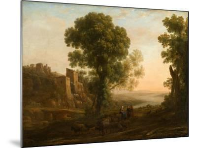 Landscape with Peasants Returning with Their Herds, c.1637-Claude Lorrain-Mounted Giclee Print