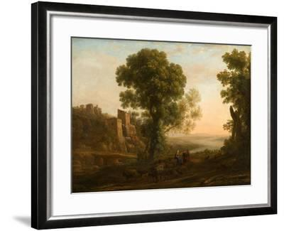 Landscape with Peasants Returning with Their Herds, c.1637-Claude Lorrain-Framed Giclee Print