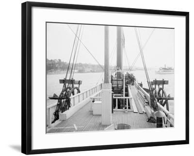 Steamer Clermont, deck, looking aft, 1909-Detroit Publishing Co.-Framed Photographic Print