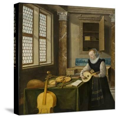 Lady Playing the Lute, c.1610-Hendrik The Younger Steenwyck-Stretched Canvas Print