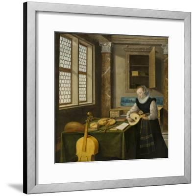 Lady Playing the Lute, c.1610-Hendrik The Younger Steenwyck-Framed Giclee Print