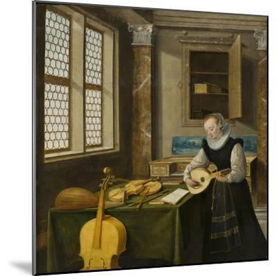 Lady Playing the Lute, c.1610-Hendrik The Younger Steenwyck-Mounted Giclee Print