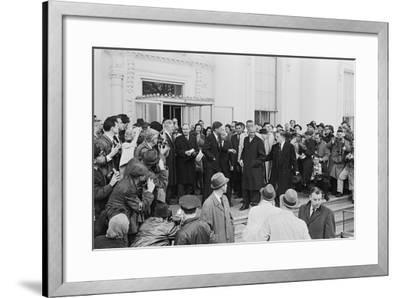John Glenn with President Kennedy in Washington, 1962-Warren K^ Leffler-Framed Photographic Print