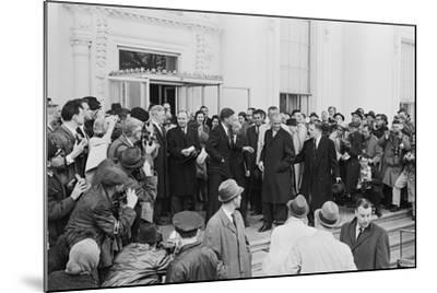 John Glenn with President Kennedy in Washington, 1962-Warren K^ Leffler-Mounted Photographic Print