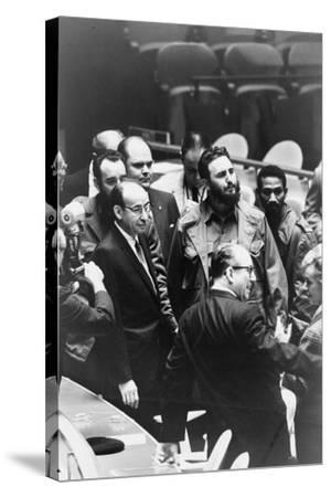 Fidel Castro at a meeting of the United Nations General Assembly, 1960-Warren K^ Leffler-Stretched Canvas Print