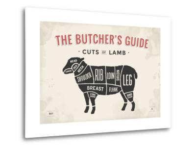 Cut of Meat Butcher Diagram - Lamb-foxysgraphic-Metal Print